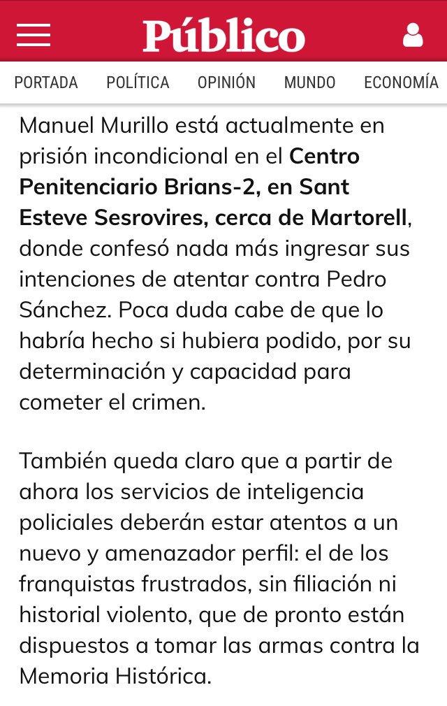 Información del diario Público sobre el francotirador detenido hace un mes.