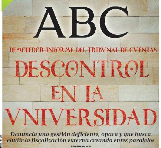 Portada de ABC: Descontrol en la Universidad