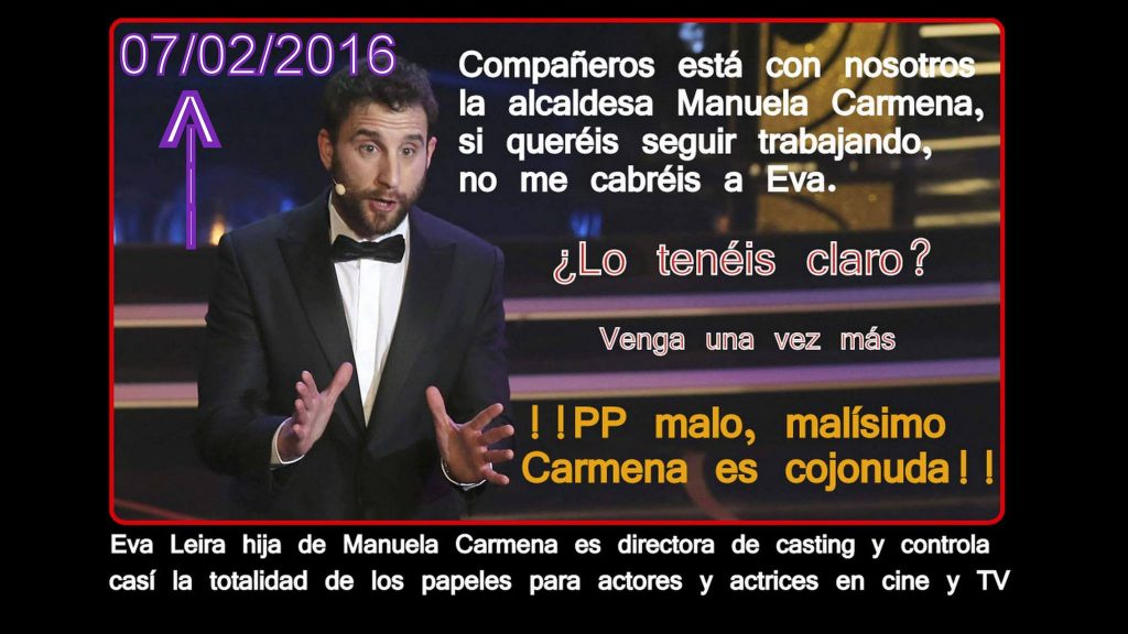 Dani Rovira elogió a Carmena en los Goya porque su hija fue directora de casting de Ocho apellidos vascos