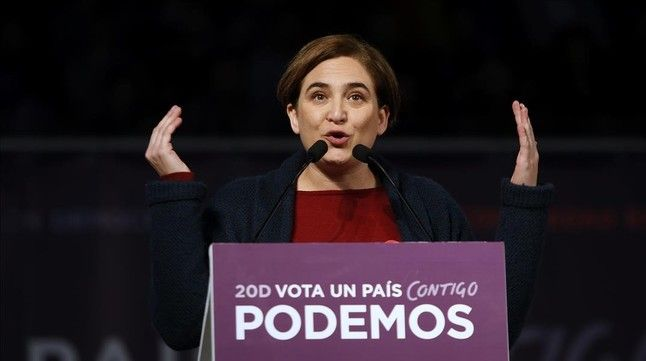 MADRID 13 12 2015 POLITICA Mitin para las elecciones Generales del dia 20 D de Podemos en la Caja Magica en Madrid Pablo Iglesias acompanado de Ada Colau en el Mitin Central de la campana para las Generales del 20D Imagen David Castro