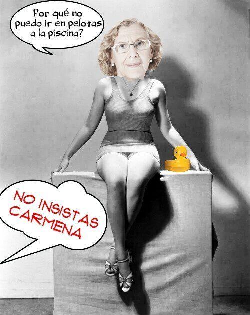 Podemos putea a Carmena. Veremos cuanto aguanta de alcaldesa. Ilustración de Linda Galmor
