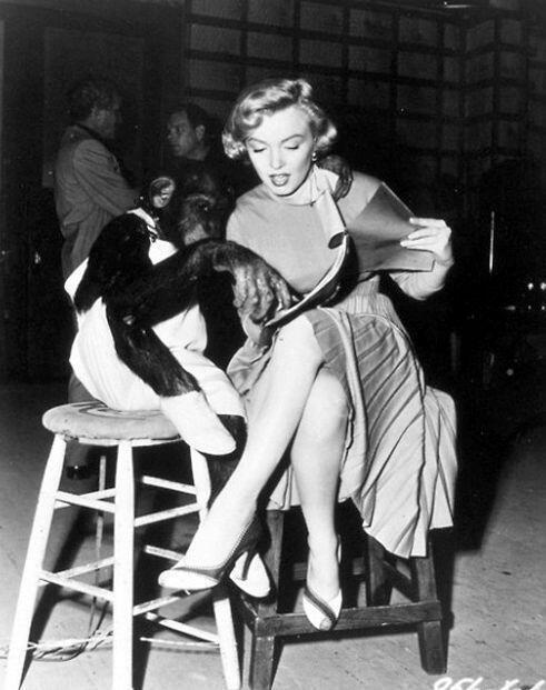 Marilyn Monroe con chimpancé