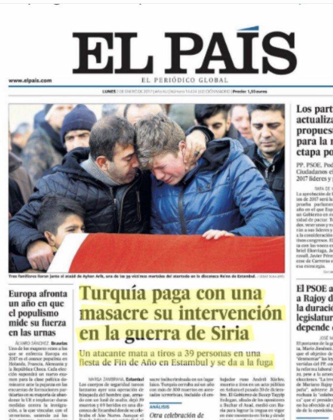 El País justificando el acto terrorista contra inocentes ciudadanos turcos