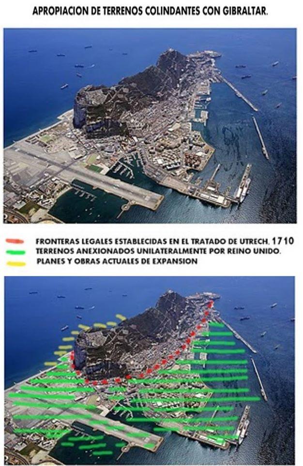 apropiacón de terrenos colindantes con Gibraltar
