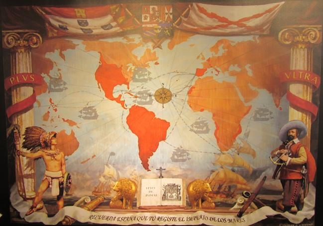 el Libro de Leyes, que simboliza el compendio de Leyes de Indias, cuerpo legislativo de inspiración cristiana y marco jurídico