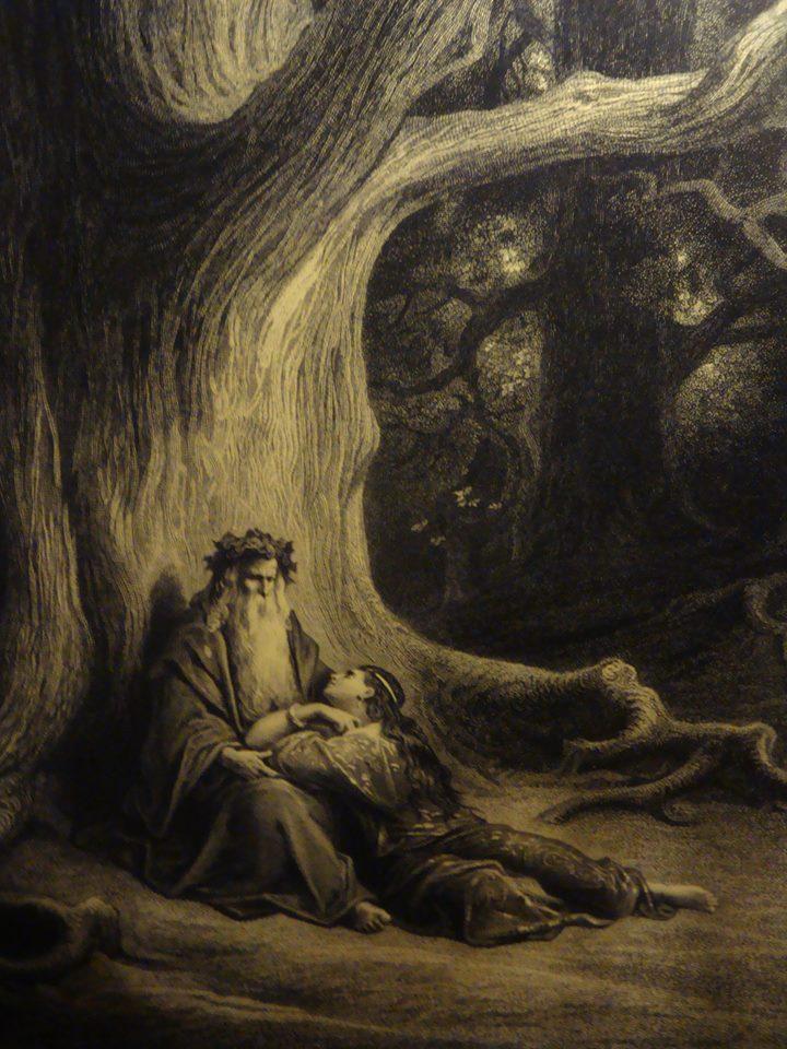 Tan pronto como Merlín entró, Nimue lanzó uno de los hechizos del mago que había aprendido a lo largo de los los días y selló la cueva
