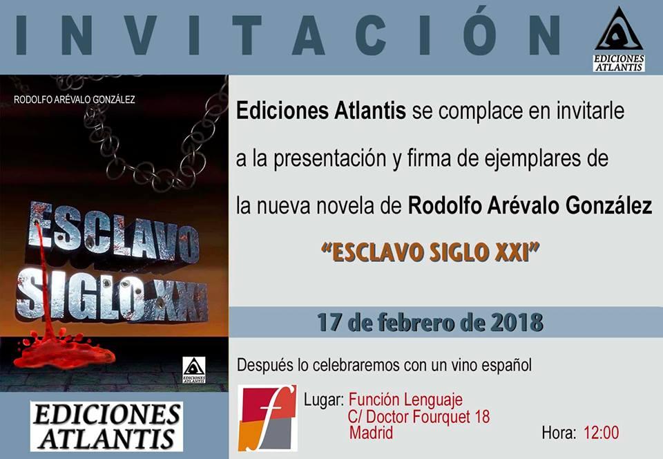 Invitación a la presentación de la novela Esclavos del siglo XXI