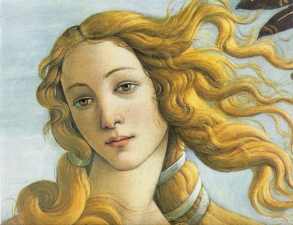 Detalle de Venus encima de una concha y surgiendo del agua