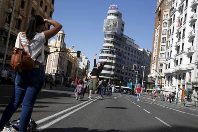 La Gran Vía de Madrid, sin coches