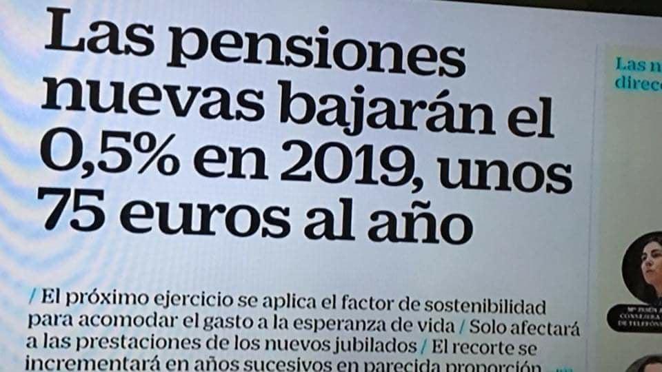 las pensiones bajarán en 2019