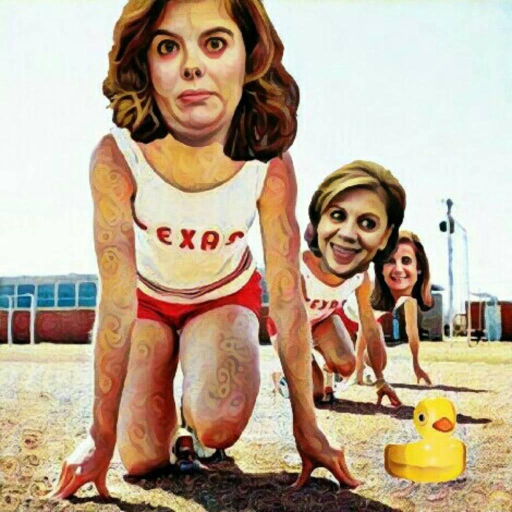 Carrera por la sustitución de Rajoy. Ilustración de Linda Galmor