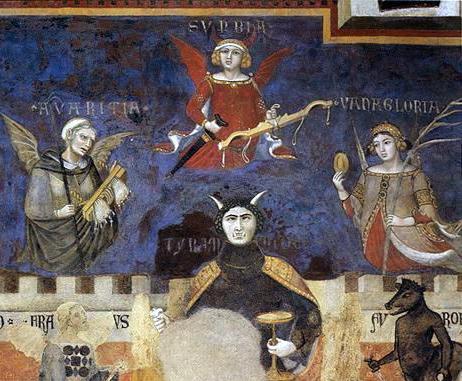 En su Alegoría del mal gobierno, los hermanos Lorenzetti representan la tiranía como un demonio, escoltado por la avaricia, soberbia y vanagloria.