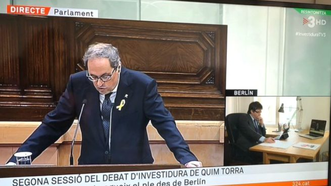 La Investidura Quim Torra que nos lleva al enfrentamiento y TV3 emite a la vez la imagen del 'ventrílocuo' Torra en el Parlament y Puigdemont en Berlín