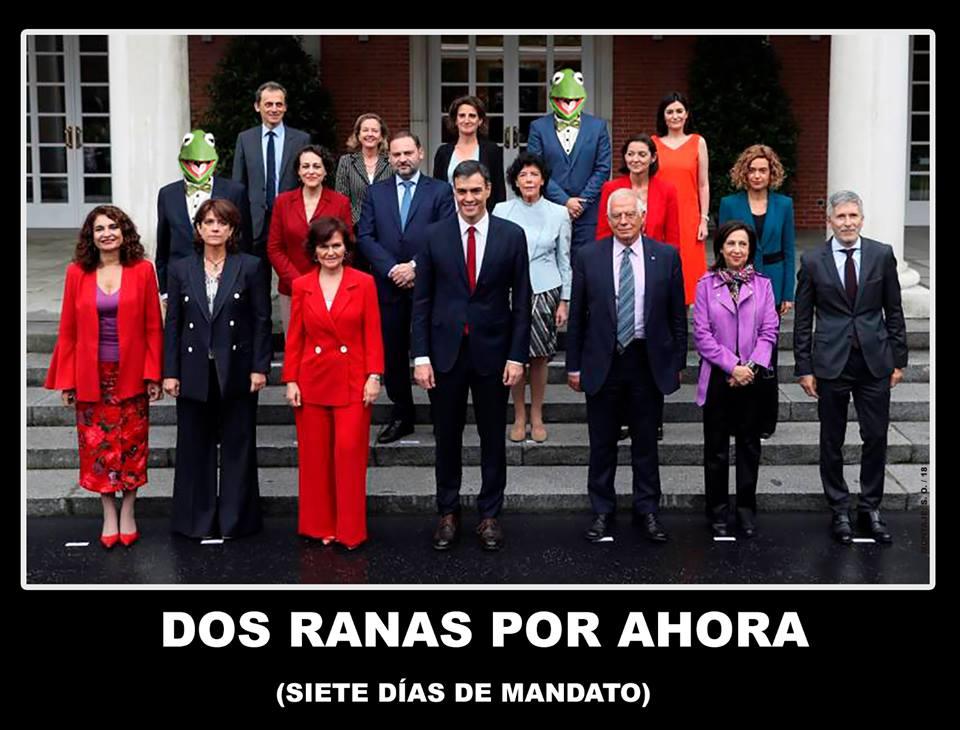 El PP exige la dimisión de Luis Planas, ministro de Agricultura, por estar imputado por un caso de robo de agua en Doñana. Dos ranas oir ahora. Ilustración de Santi Orue