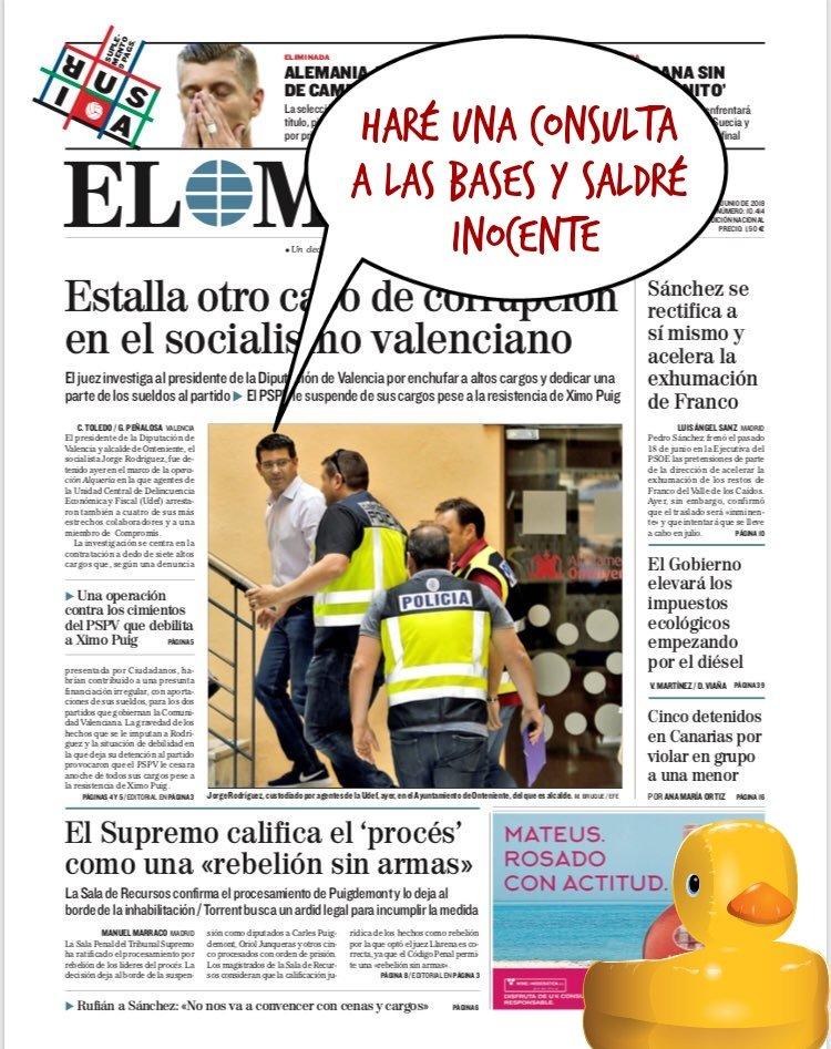 Estamos a la espera del tsunami de dimisiones en el partido socialista valenciano y en Compromís