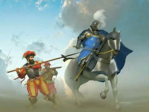 Gendarme francés es atacado por uno de los soldados de Pavía, , Batalla de Pavía 1521