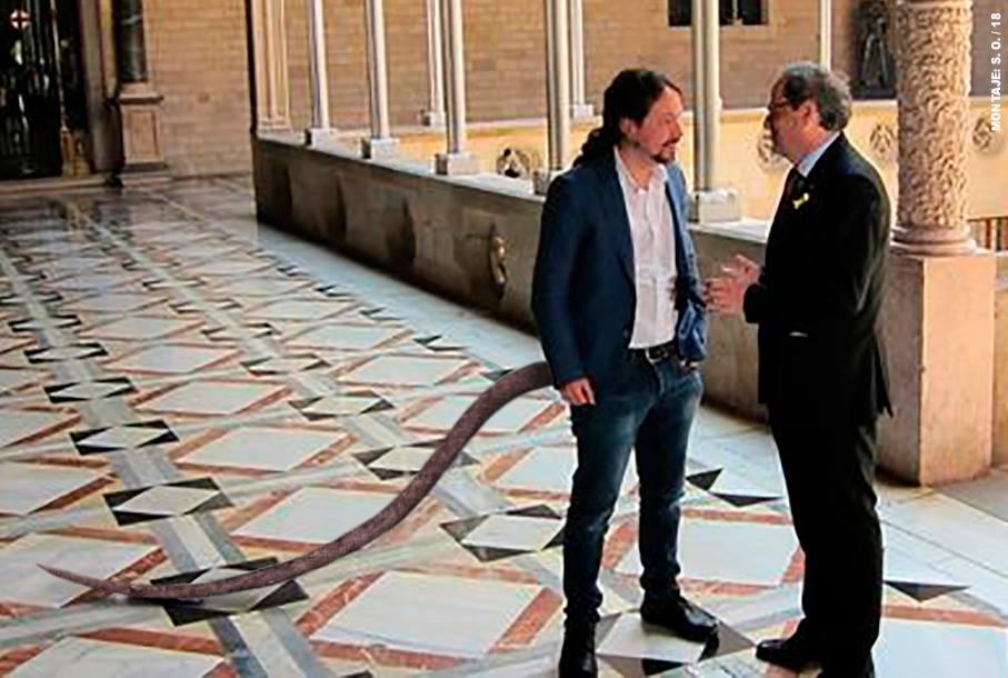 Iglesias defiende un referéndum de autodeterminación y pide a Torra que sus diferencias con el PSOE no impidan hablar. Santi Orue