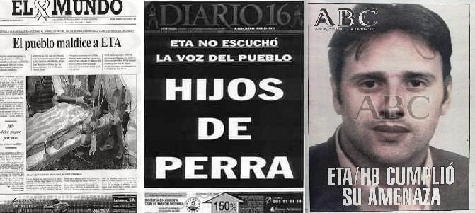 Esos mismos criminales secuestraron y asesinaron al joven concejal Miguel Ángel Blanco de dos tiros en la nuca sin que pudiera defenderse