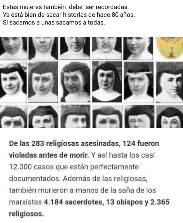 De las 283 religiosas asesinadas, 124 fuern violadas antes de morir
