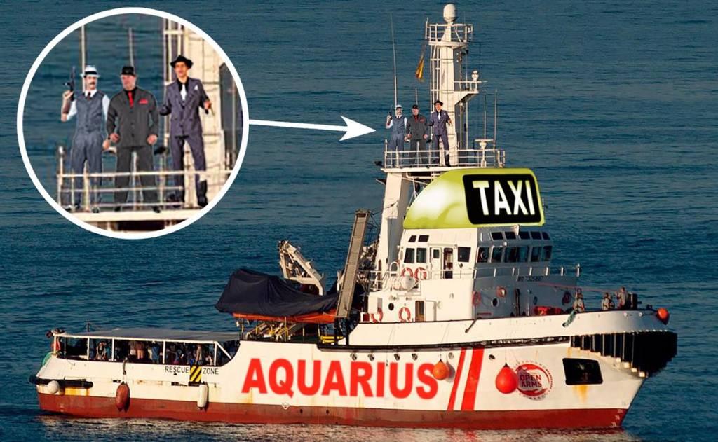 Sánchez, ante el dilema de volver a acoger al Aquarius tras el nuevo portazo de Salvini. Ilustración de Santi Orue