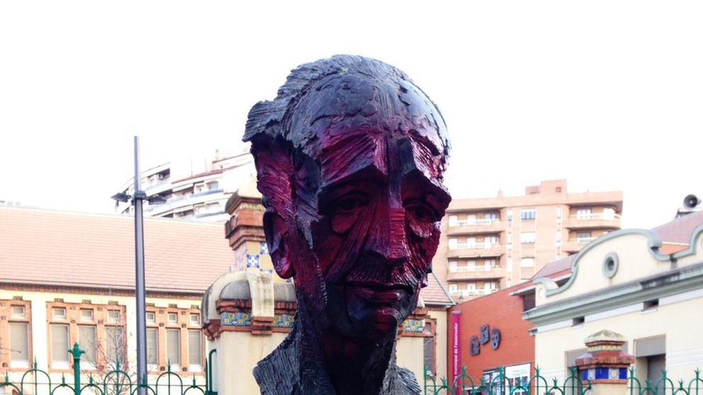 El busto pintado de Lluís Companys en Lérida