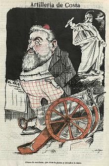 Caricatura de Joaquín Costa en el semanario satírico Gedeón, julio de 1903.