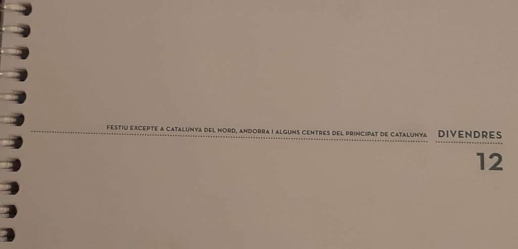 agenda escolar del instituto donde estudia el hijo de un amigo que vive en Barcelona