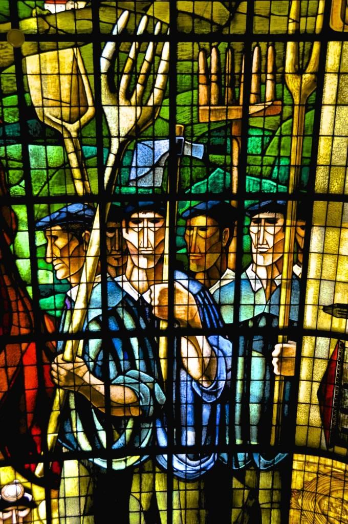 Detalle de la vidriera de la Casa de Juntas de Guernica