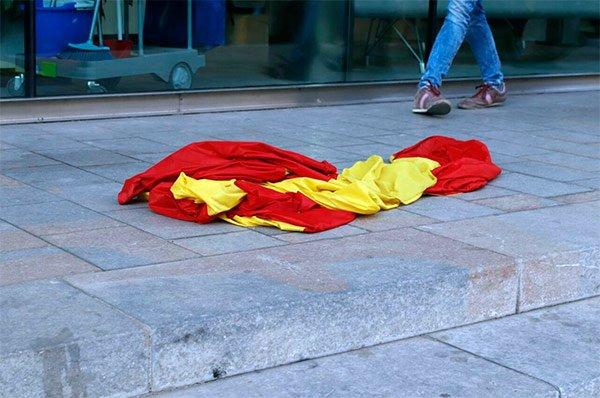 La bandera española en Gerona