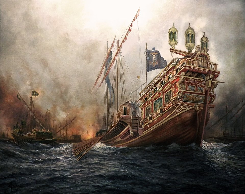 Galera la Real en la Batalla de Lepanto de Ferre Clauzel