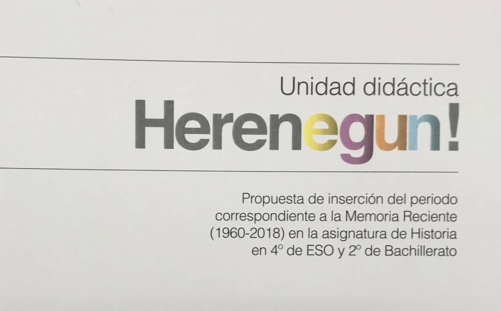 """El Gobierno vasco llevará a las clases el próximo curso un proyecto piloto para impartir una asignatura sobre la """"memoria reciente"""" entre 1960 y 2018"""