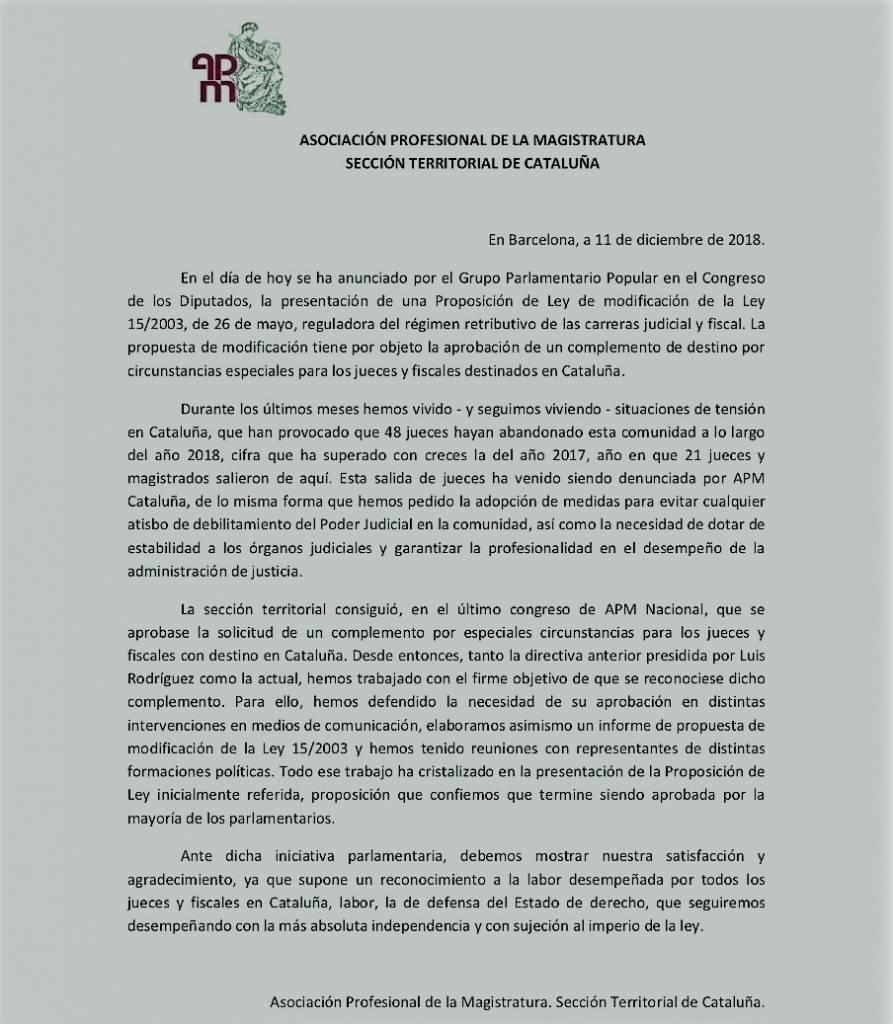 Comunicado complemento APM Catalunya