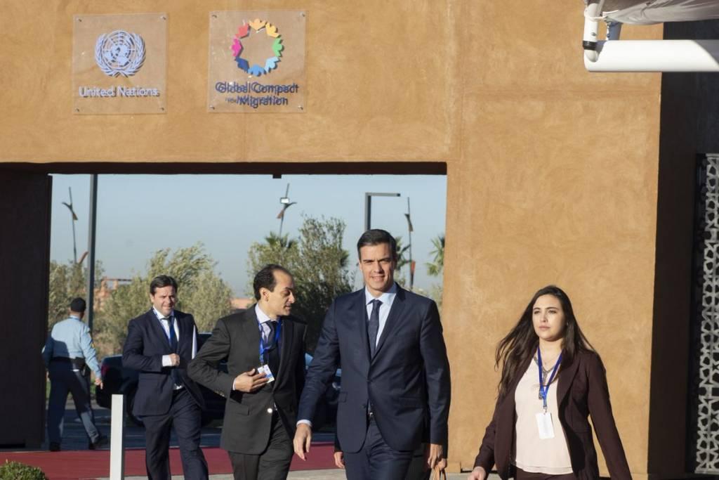 Pedro Sánchez, a su llegada a la cumbre de la ONU sobre migración en Marrakech, Marruecos