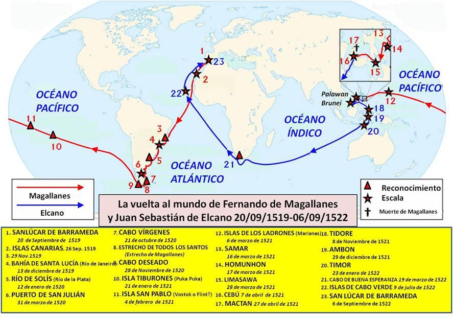 La vuelta al mundo de Fernando de Magallanes y Juan Sebastián de Elcano. Elaboración propia ©José Antonio Crespo-Francés