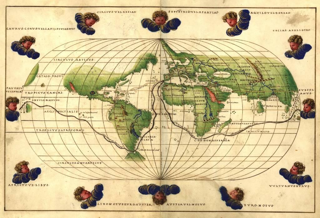 Mapamundi de uno de los atlas de Bautista Agnese, fechado en 1544. Dominio público