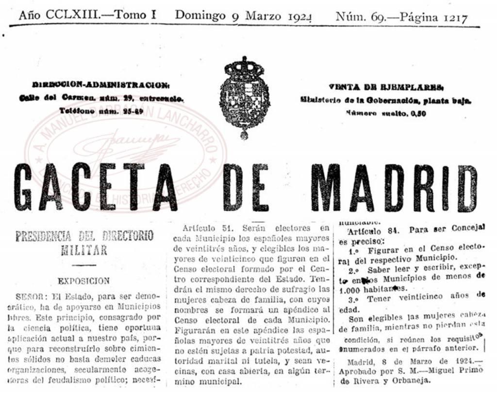 95 aniversario de la concesión del voto a la mujer en España