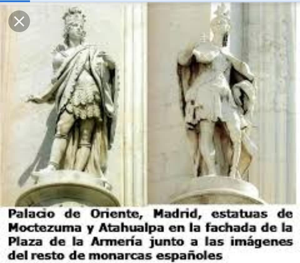 Estatuas de Moctezuma y Atahualpa