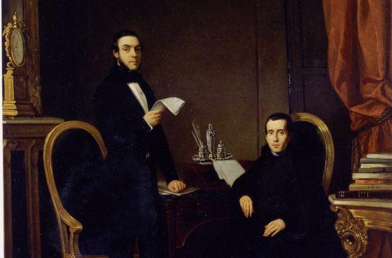 Donoso Cortés y el sacerdote Jaime Balmes, retratados por Luis Brocheton