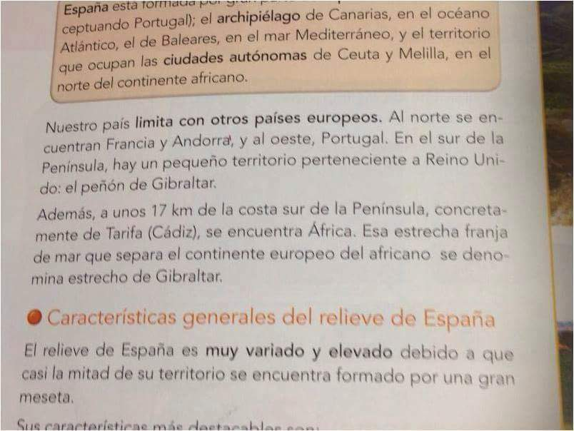 No se puede decir en los libros escolares que España limita al sur con un territorio inglés sino todo lo contrario con un territorio usurpado, si eso no se enseña, eso se olvida y no se defiende. Esta es la vergüenza.
