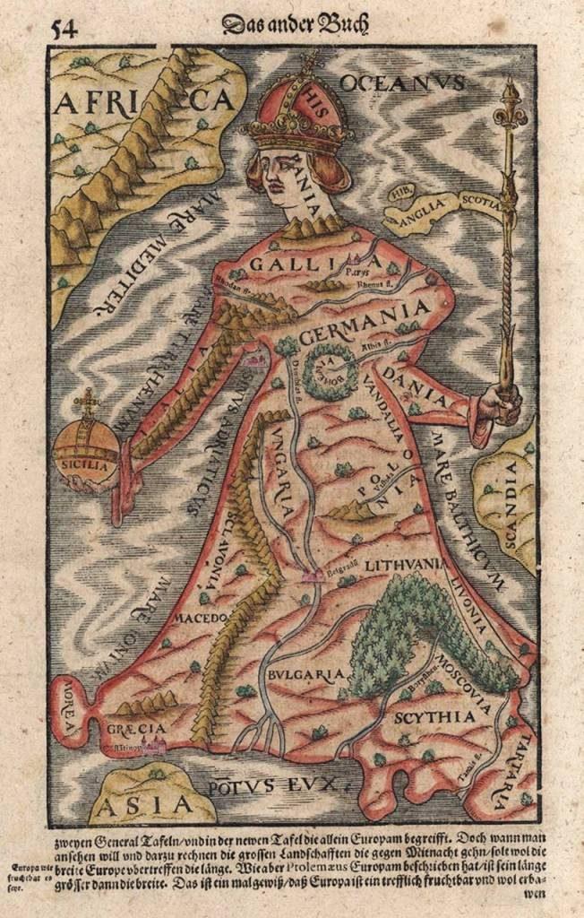 En este mapa figurativo de Europa ideado por Carlos V aparece Hispania a la cabeza