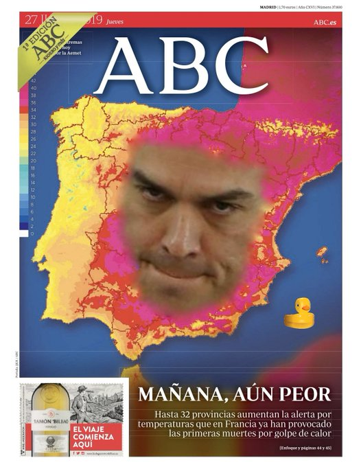 En esta España torrada vamos de progreso hacia seis millones de parados y la ruina tres. Portada de hoy. por Linda Galmor