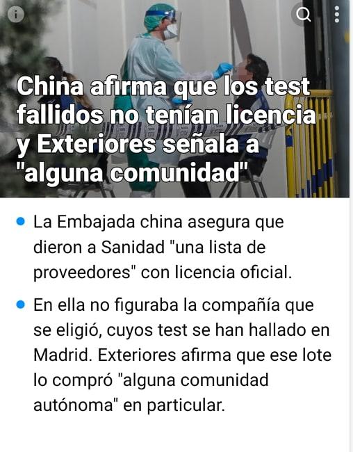 China afirma que los test fallidos no tenían licencia