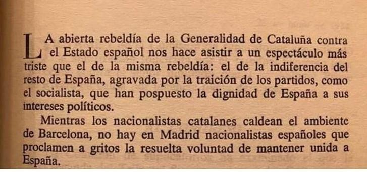 Texto de José Antonio Primo de Rivera. Parece que lo ha escrito esta mañana. La historia se repite.