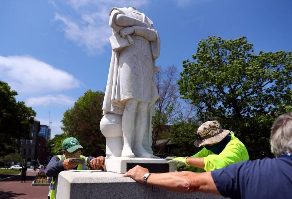 La estatua decapitada de Colón en Richmond