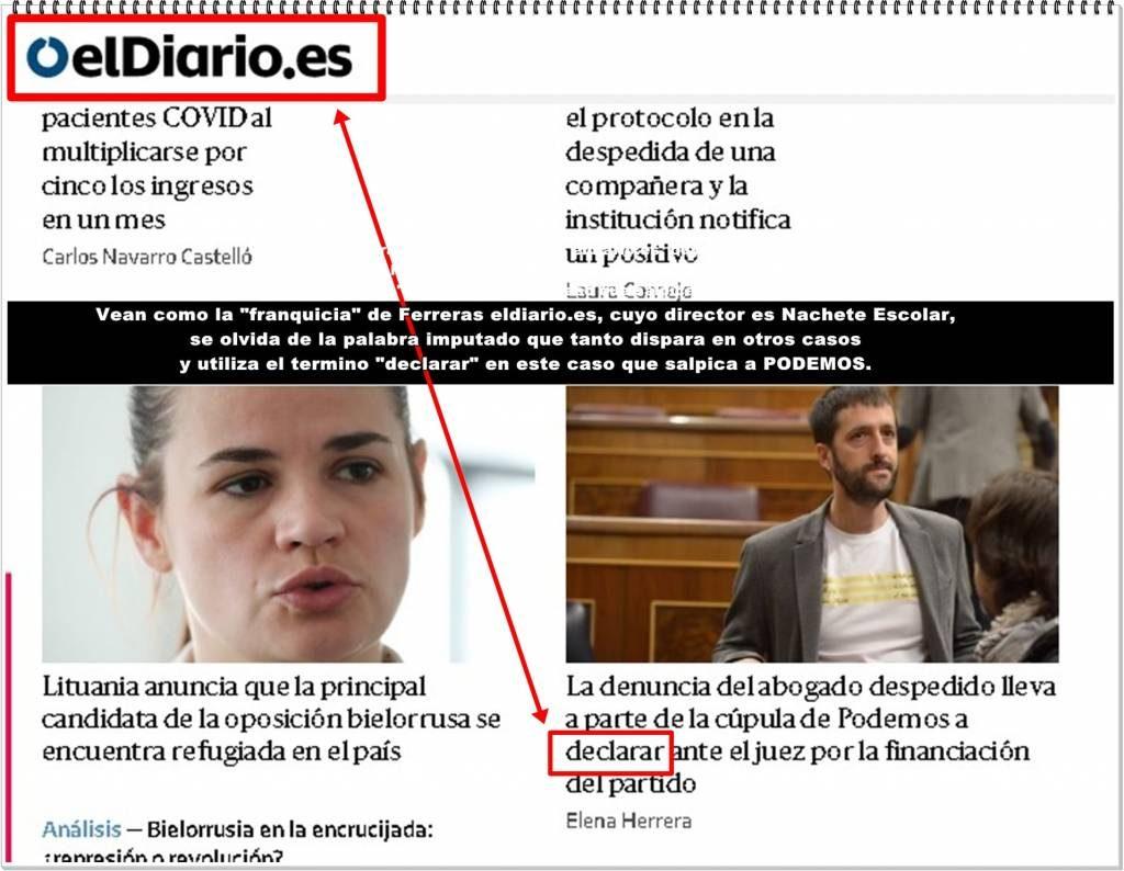 Nachete Escolar se olvida de la palabra imputado que tanto dispara en otros casos