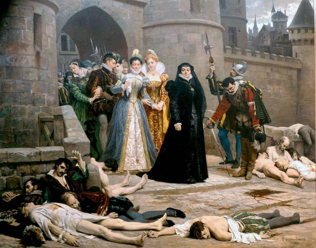 Una mañana a las puertas del Louvre, pintura de Edouard Debat-Ponsan, del siglo XIX. Catalina de Médici aparece vestida de negro.
