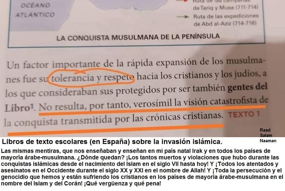 Libro de texto sobre la invasión islámica