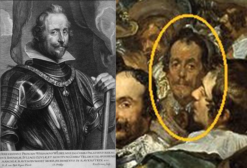 Podemos apreciar el asombroso parecido que nos lleva a decantarnos por pensar que es el Príncipe de Neuburg.