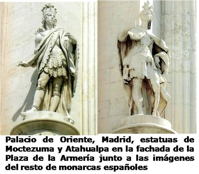 Las estatuas de Atahualpa y la de Moctezuma como reyes de la Hispanidad junto al resto de reyes de España.