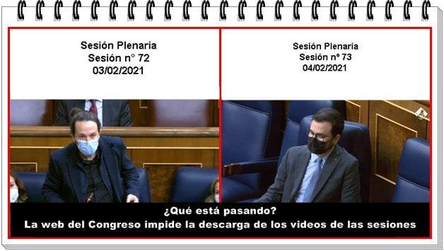 La web del Congreso impide la descarga de los videos de las sesiones parlamentarias.
